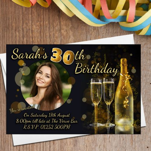 10 Personalised Black & Gold Glitter Birthday Party Invitations N206 - Any age 18th 21st 30th 40th 50th 60th